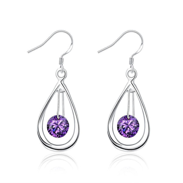 18K White Gold Plated Purple Citrine Circular Drop Earring - Lenox Jewelers Corp.
