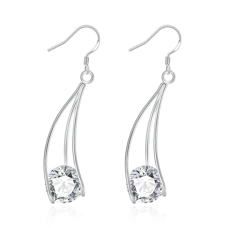 18K White Gold Plated Drop Crystal Earring - Lenox Jewelers Corp.