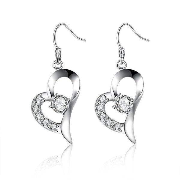 18K White Gold Plated Curved Petite Heart Earring - Lenox Jewelers Corp.