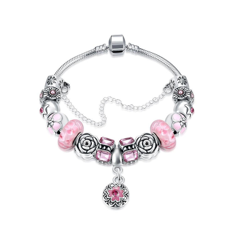 Petite Pink Petite Emblem Pandora Inspired Bracelet Made with Swarovski Elements - Lenox Jewelers Corp.