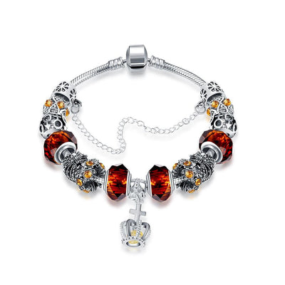 Royal Orange Citrine Crown Jewel Pandora Inspired Bracelet Made with Swarovski Elements - Lenox Jewelers Corp.