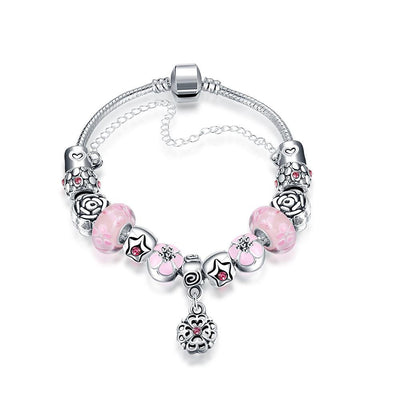 Mini Petite Pink Pandora Inspired Bracelet Made with Swarovski Elements - Lenox Jewelers Corp.