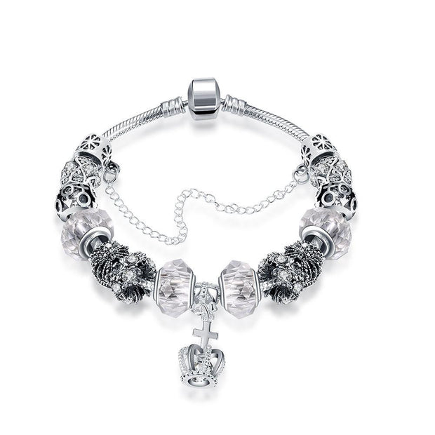 Royal Elegant White Crown Jewel Pandora Inspired Bracelet Made with Swarovski Elements - Lenox Jewelers Corp.