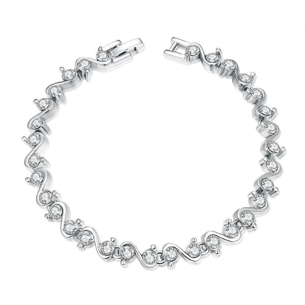 Swirl White Gold 18K Plated Bracelet