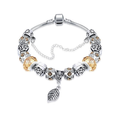 Petite Cream Soda Leaf Branch Pandora Inspired Bracelet Made with Swarovski Elements - Lenox Jewelers Corp.