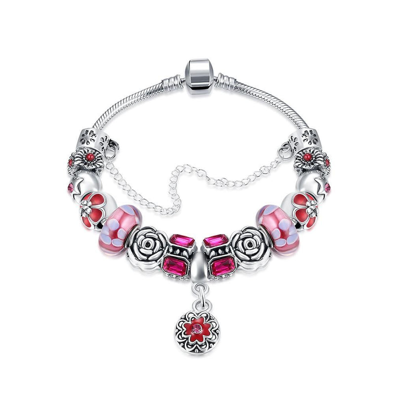 Royal Coral Pink Petite Emblem Pandora Inspired Bracelet Made with Swarovski Elements - Lenox Jewelers Corp.