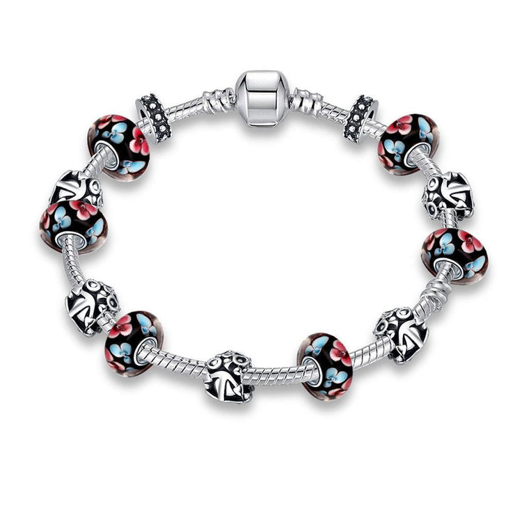 Retro Flower Print Pandora Inspired Bracelet Made with Swarovski Elements - Lenox Jewelers Corp.