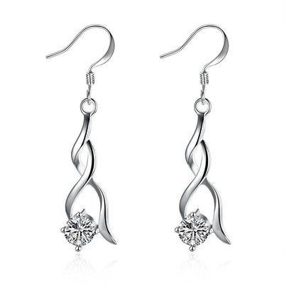 18K White Gold Plated Modern Spiral Drop Earring - Lenox Jewelers Corp.