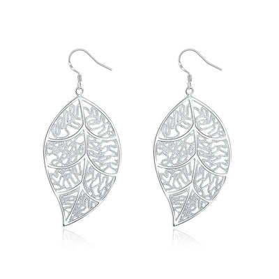 18K White Gold Plated Laser Cut Filigree Leaf Earring - Lenox Jewelers Corp.