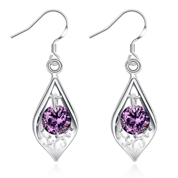18K White Gold Plated Purple Citrine Triangular Drop Earring - Lenox Jewelers Corp.