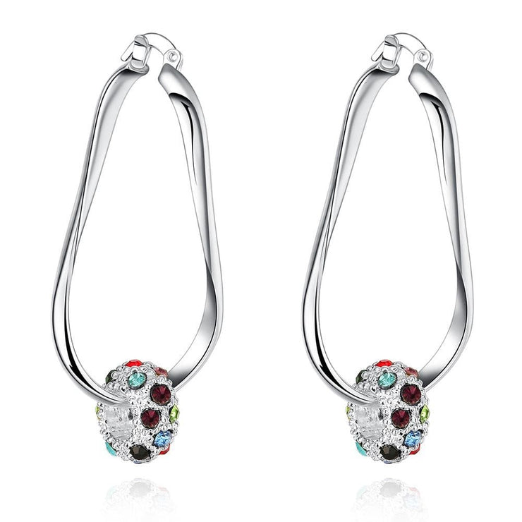 18K White Gold Plated Rainbow Ball Hoop Earring - Lenox Jewelers Corp.