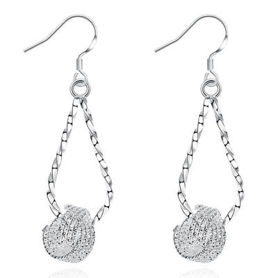 18K White Gold Plated Love Knot Drop Earring - Lenox Jewelers Corp.