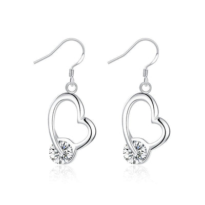 18K White Gold Plated Heart Shaped Drop Earring with Crystal Stone - Lenox Jewelers Corp.