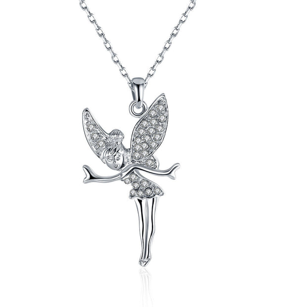 White Gold Plated Flying Angel Necklace
