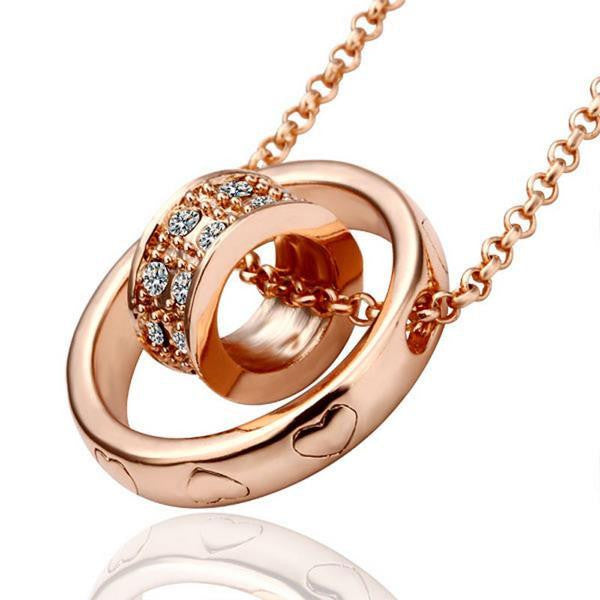 Rose Gold Plated Rolling Circle Necklace - Lenox Jewelers Corp.