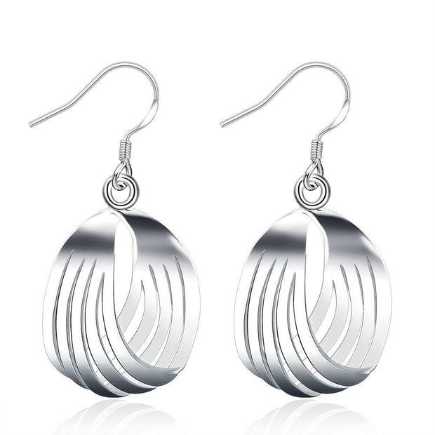 18K White Gold Plated Sea-Shell Laser Cut Earring - Lenox Jewelers Corp.