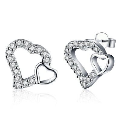 18K White Gold Plated Double Hearts Stud Earring - Lenox Jewelers Corp.