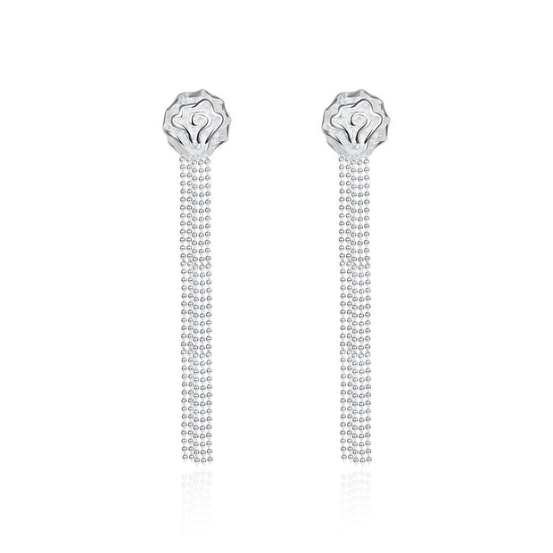 18K White Gold Plated Linear Chandelier Drop Earring - Lenox Jewelers Corp.