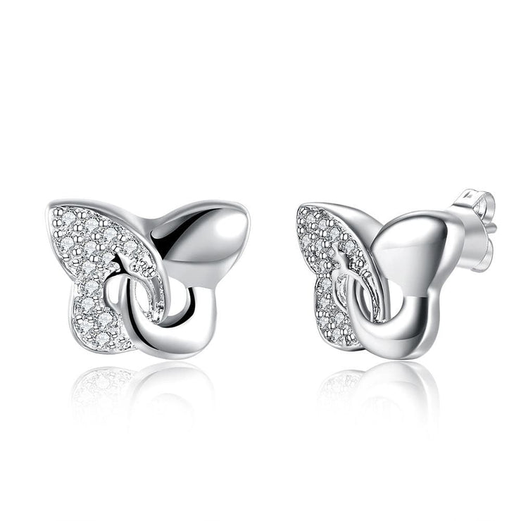 18K White Gold Plated Modern Twist To The Classic Butterfly Earring - Lenox Jewelers Corp.