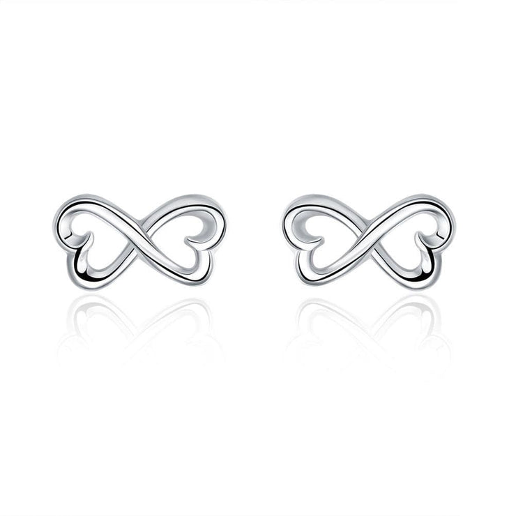 18K White Gold Plated Infinite Shaped Earring - Lenox Jewelers Corp.