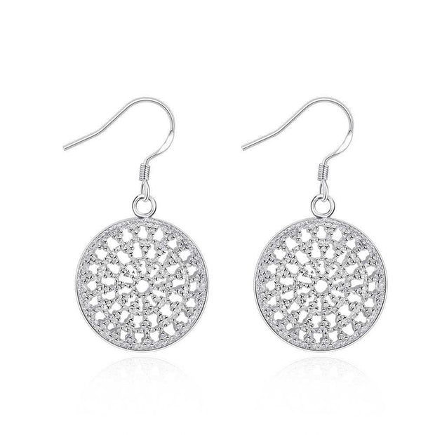18K White Gold Plated Circular Pendant Earring - Lenox Jewelers Corp.