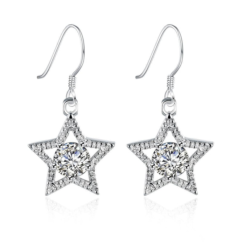 18K White Gold Plated Star Shape with Crystal Inlay Earring - Lenox Jewelers Corp.