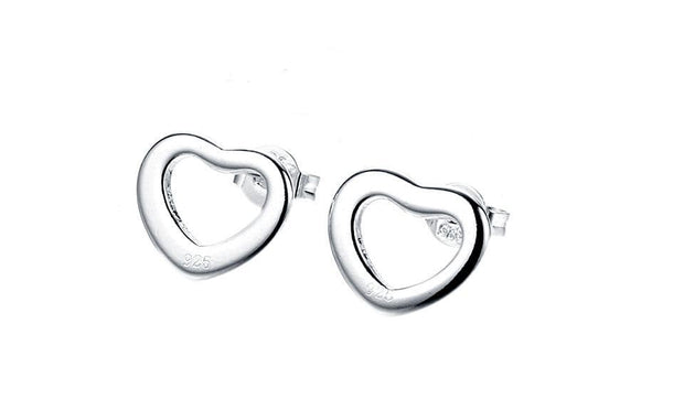 18K White Gold Plated Hollow Heart Stud Earring - Lenox Jewelers Corp.