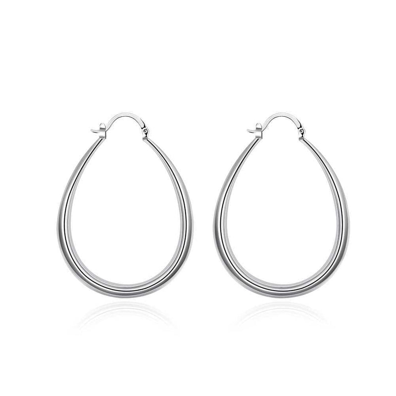 18K White Gold Plated Mid-Sized Hoops - Lenox Jewelers Corp.