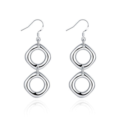 18K White Gold Plated Double Hollow Oval Shape Earring - Lenox Jewelers Corp.