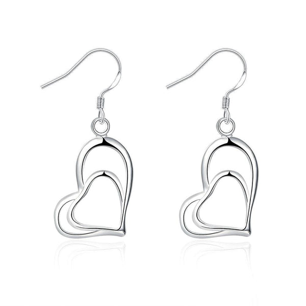 18K White Gold Plated Trio-Hearts Drop Earring - Lenox Jewelers Corp.