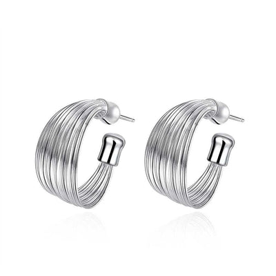 18K White Gold Plated Wire Layering Hoop Earring - Lenox Jewelers Corp.