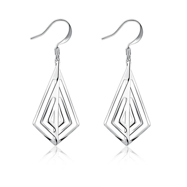 18K White Gold Plated Laser Cut Triangular Drop Earring - Lenox Jewelers Corp.