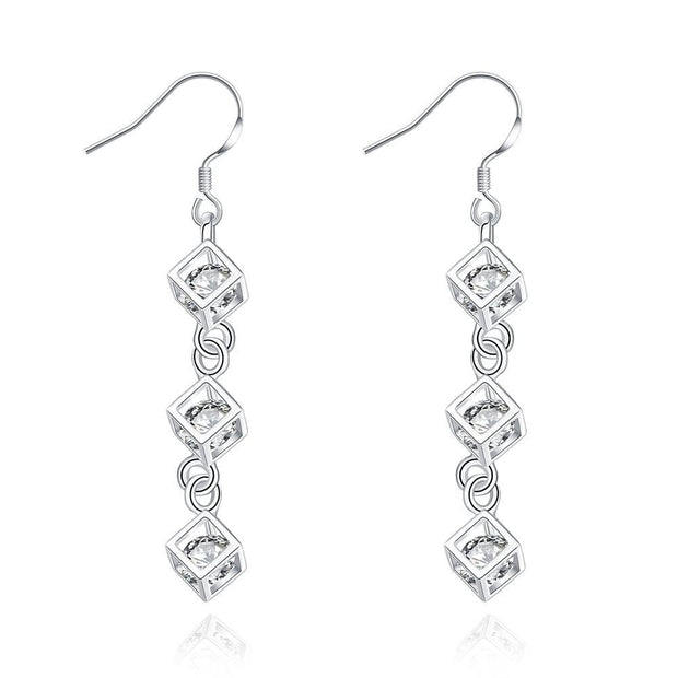 18K White Gold Plated Drop Rubix Cube Earring - Lenox Jewelers Corp.
