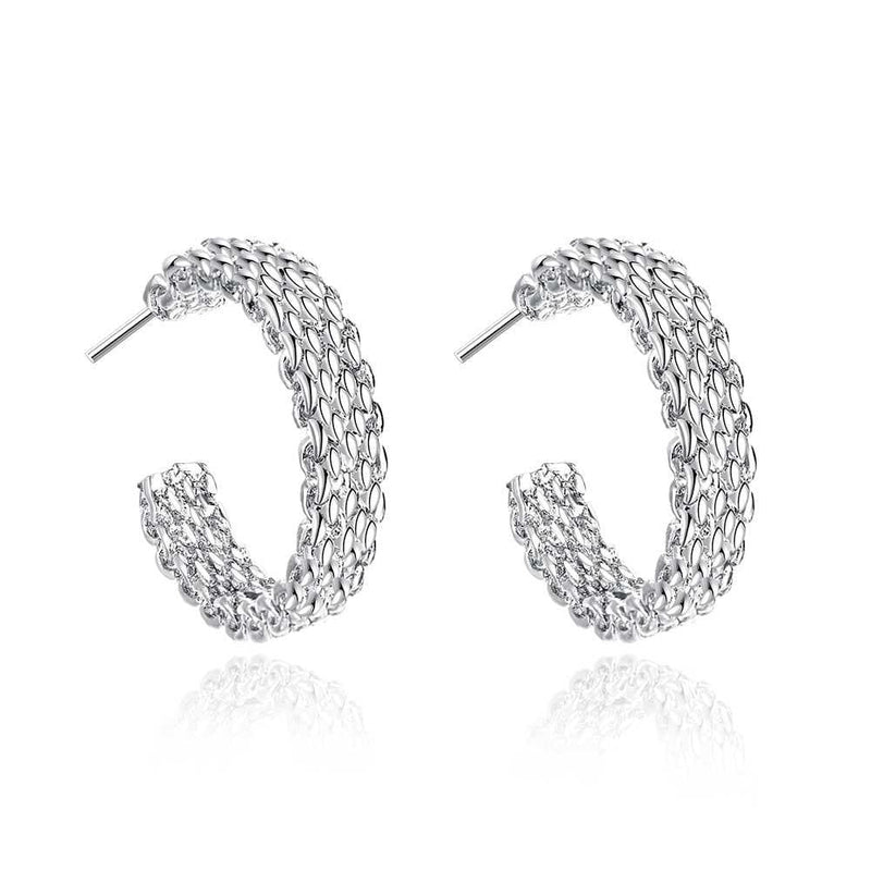 18K White Gold Plated Wired Half Cut Hoops - Lenox Jewelers Corp.