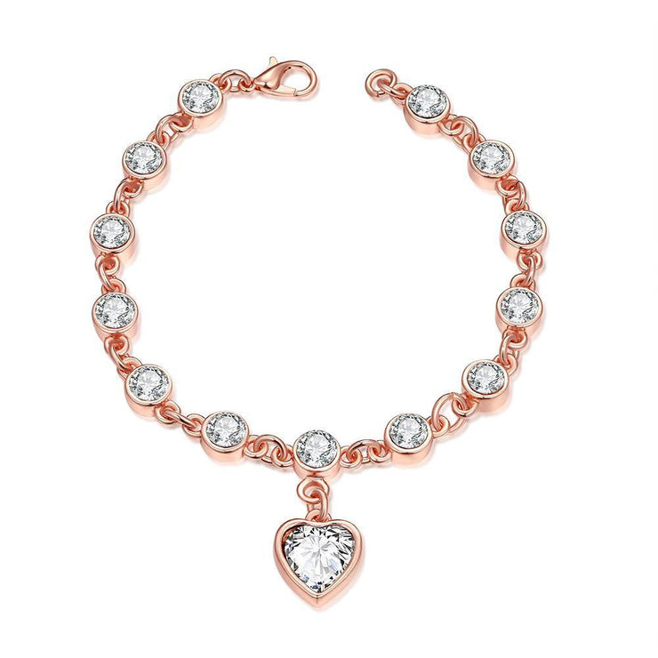 Heart Rose Gold 18K Plated Bracelet - Lenox Jewelers Corp.