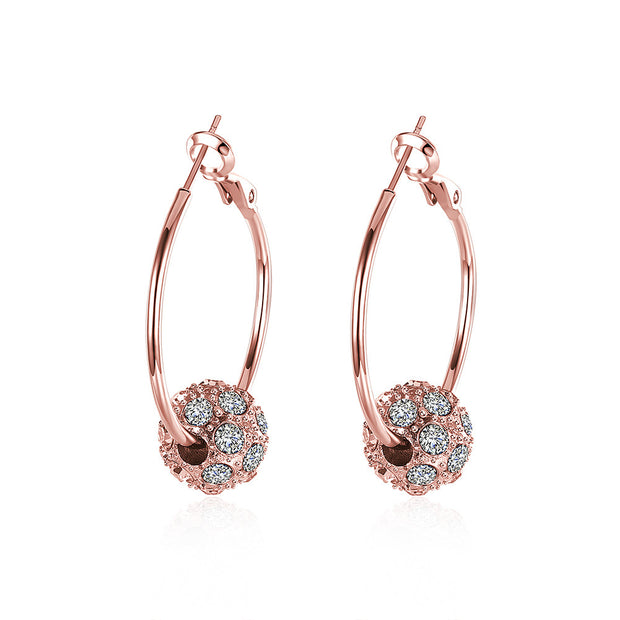 Swarovski Crystal Pave Ball 3mm Hoop Earring for Womens