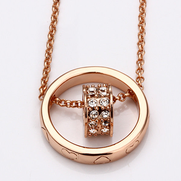Rose Gold Plated Rolling Hearts Necklace - Lenox Jewelers Corp.