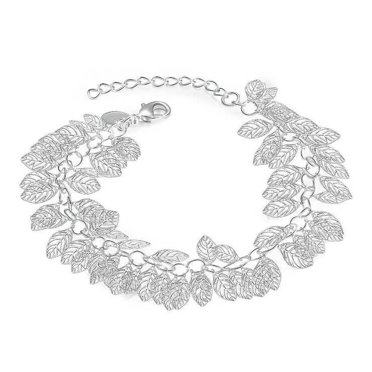 Leaf Bracelet in 18K White Gold Plated - Lenox Jewelers Corp.