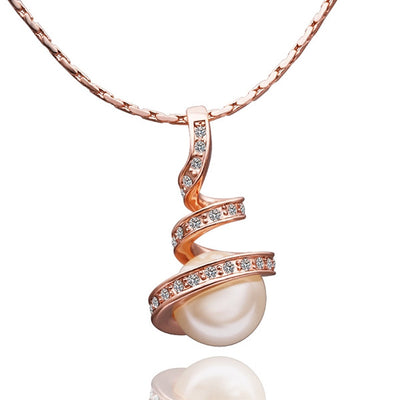 Gold Plated Spiral Pearl Design Necklace - Lenox Jewelers Corp.