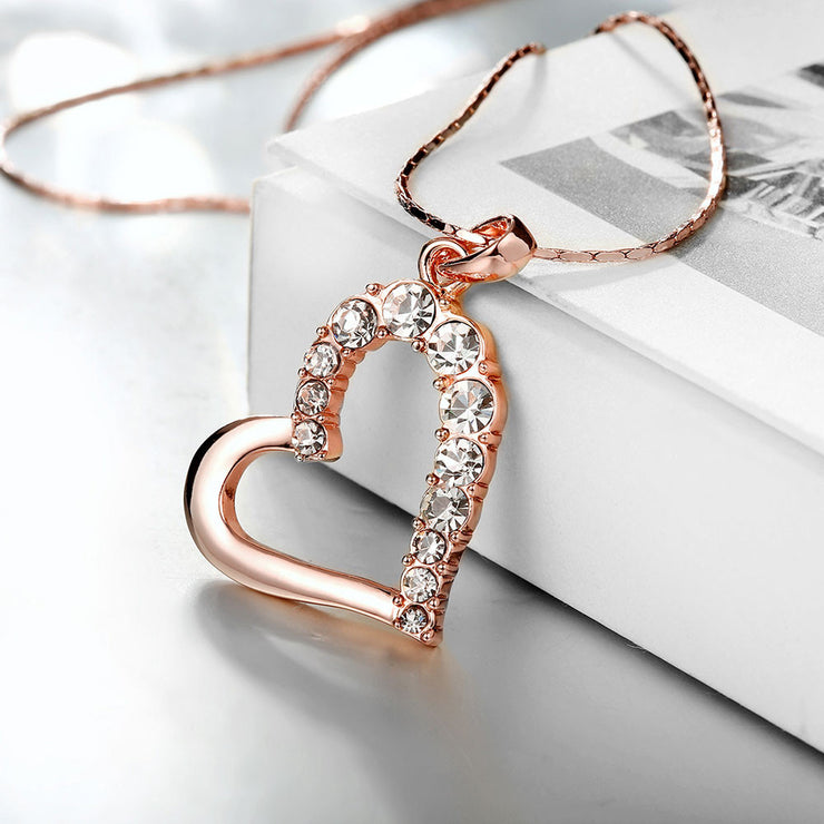 Rose Gold Plated Half Hearted Crystal Inlay Necklace - Lenox Jewelers Corp.