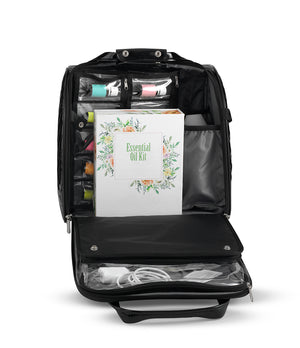 Holds over 50  essential oils, diffuser, catalogues, laptop, cords and much more!