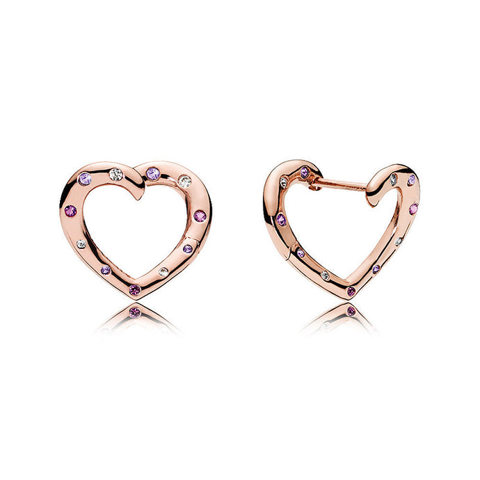 925 Sterling Silver heart Earring, Rose gold plated