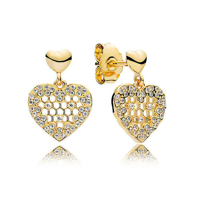 925 Sterling Silver Heart Earring, Gold plated