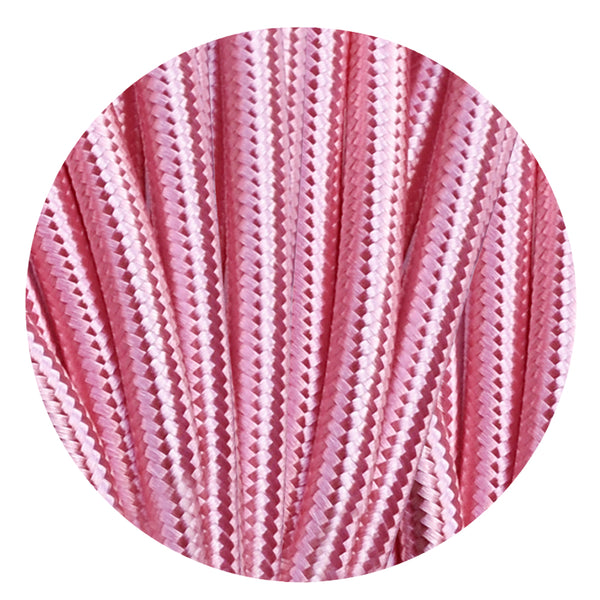 Vintage Shiny Pink Fabric 3 Core Round Italian Braided Cable 0.75mm - Vintagelite