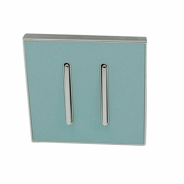 2 Gang Blue Glossy Screw less Wall Light Switch - Vintagelite
