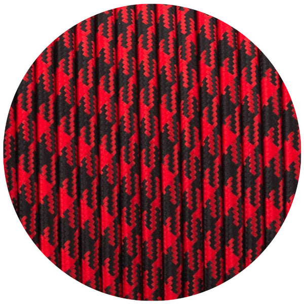 Vintage Red And Black Hundstooth Fabric 3 Core Round Italian Braided Cable 0.75mm - Vintagelite