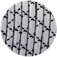 Vintage  Black And White X Printed Fabric 3 Core Round Italian Braided Cable 0.75mm - Vintagelite