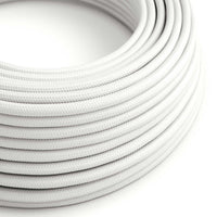 Vintage White Fabric 3 Core Round Italian Braided Cable 0.75mm - Vintagelite