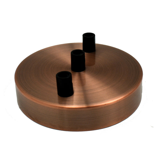Multi Outlet 3 Hole Copper Drop Pendant 120x25mm Ceiling Rose - Vintagelite