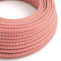 Vintage Red And White Fabric 3 Core Round Italian Braided Cable 0.75mm - Vintagelite